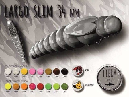 Libra Lures Largo Slim 3,4cm Kolor 007 Yellow Zapach Cheese op.12szt